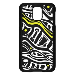 Yellow, Black And White Abstract Art Samsung Galaxy S5 Case (black) by Valentinaart