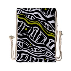 Yellow, Black And White Abstract Art Drawstring Bag (small) by Valentinaart