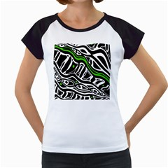Green, Black And White Abstract Art Women s Cap Sleeve T by Valentinaart