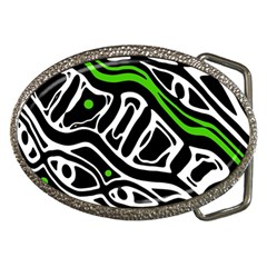 Green, Black And White Abstract Art Belt Buckles by Valentinaart