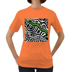 Green, Black And White Abstract Art Women s Dark T Shirt by Valentinaart