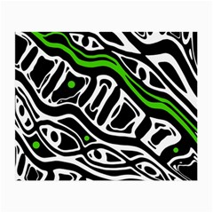 Green, Black And White Abstract Art Small Glasses Cloth by Valentinaart
