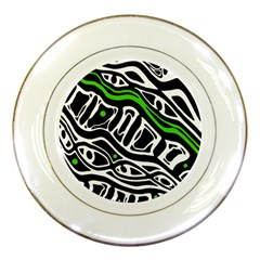 Green, Black And White Abstract Art Porcelain Plates by Valentinaart