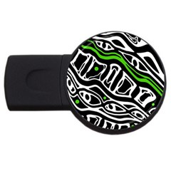 Green, Black And White Abstract Art Usb Flash Drive Round (4 Gb)  by Valentinaart