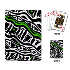 Green, Black And White Abstract Art Playing Card by Valentinaart