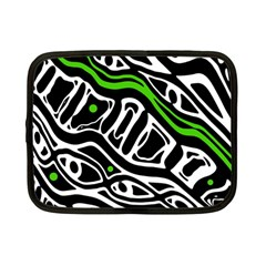 Green, Black And White Abstract Art Netbook Case (small)  by Valentinaart