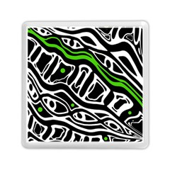 Green, Black And White Abstract Art Memory Card Reader (square)  by Valentinaart