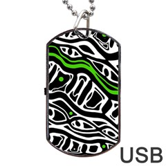 Green, Black And White Abstract Art Dog Tag Usb Flash (one Side) by Valentinaart