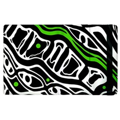 Green, Black And White Abstract Art Apple Ipad 2 Flip Case by Valentinaart