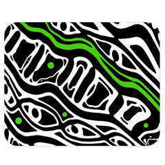 Green, Black And White Abstract Art Double Sided Flano Blanket (medium)  by Valentinaart