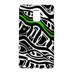 Green, Black And White Abstract Art Galaxy Note Edge by Valentinaart