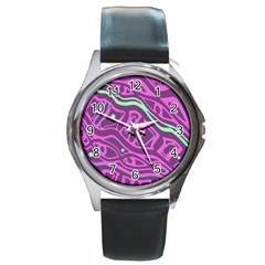 Purple And Green Abstract Art Round Metal Watch by Valentinaart
