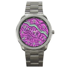 Purple And Green Abstract Art Sport Metal Watch by Valentinaart