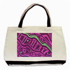 Purple And Green Abstract Art Basic Tote Bag (two Sides) by Valentinaart
