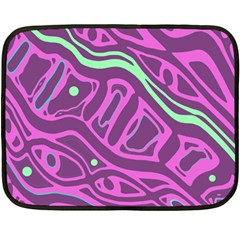 Purple And Green Abstract Art Fleece Blanket (mini) by Valentinaart