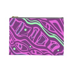 Purple And Green Abstract Art Cosmetic Bag (large)  by Valentinaart