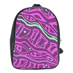 Purple And Green Abstract Art School Bags(large)  by Valentinaart