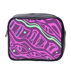 Purple And Green Abstract Art Mini Toiletries Bag 2 Side by Valentinaart