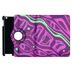Purple And Green Abstract Art Apple Ipad 3/4 Flip 360 Case by Valentinaart