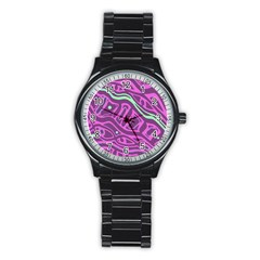 Purple And Green Abstract Art Stainless Steel Round Watch by Valentinaart