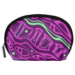 Purple And Green Abstract Art Accessory Pouches (large)  by Valentinaart