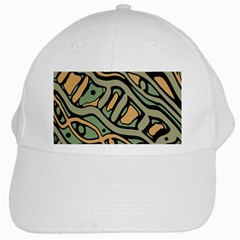Green Abstract Art White Cap