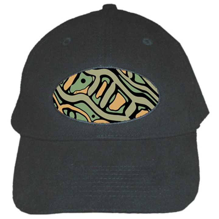 Green abstract art Black Cap