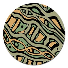 Green Abstract Art Magnet 5  (round) by Valentinaart