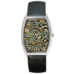 Green Abstract Art Barrel Style Metal Watch by Valentinaart