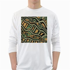 Green Abstract Art White Long Sleeve T Shirts by Valentinaart