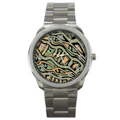 Green Abstract Art Sport Metal Watch by Valentinaart