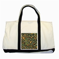 Green Abstract Art Two Tone Tote Bag by Valentinaart