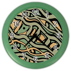 Green Abstract Art Color Wall Clocks by Valentinaart