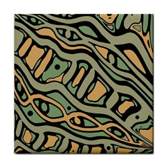 Green Abstract Art Face Towel by Valentinaart