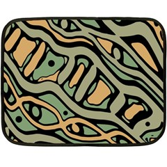 Green Abstract Art Double Sided Fleece Blanket (mini)  by Valentinaart