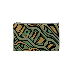 Green Abstract Art Cosmetic Bag (small)  by Valentinaart