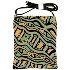 Green Abstract Art Shoulder Sling Bags by Valentinaart