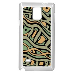 Green Abstract Art Samsung Galaxy Note 4 Case (white) by Valentinaart