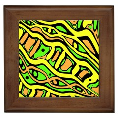 Yellow, Green And Oragne Abstract Art Framed Tiles by Valentinaart
