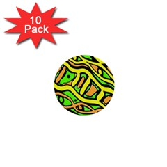 Yellow, Green And Oragne Abstract Art 1  Mini Buttons (10 Pack)  by Valentinaart