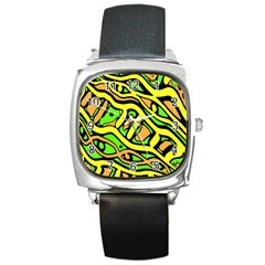 Yellow, Green And Oragne Abstract Art Square Metal Watch by Valentinaart