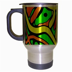 Yellow, Green And Oragne Abstract Art Travel Mug (silver Gray) by Valentinaart