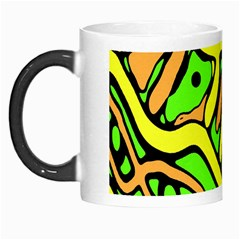 Yellow, Green And Oragne Abstract Art Morph Mugs by Valentinaart