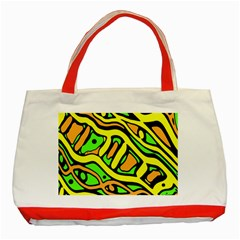 Yellow, Green And Oragne Abstract Art Classic Tote Bag (red)