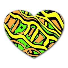 Yellow, Green And Oragne Abstract Art Heart Mousepads by Valentinaart