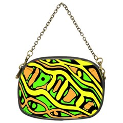 Yellow, Green And Oragne Abstract Art Chain Purses (two Sides)  by Valentinaart