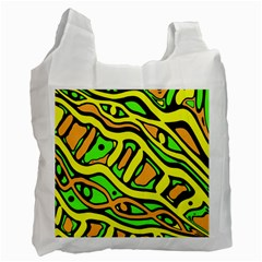 Yellow, Green And Oragne Abstract Art Recycle Bag (two Side)  by Valentinaart