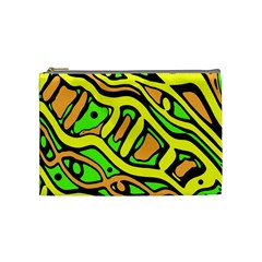 Yellow, Green And Oragne Abstract Art Cosmetic Bag (medium)  by Valentinaart