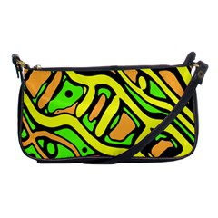 Yellow, Green And Oragne Abstract Art Shoulder Clutch Bags by Valentinaart