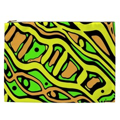 Yellow, Green And Oragne Abstract Art Cosmetic Bag (xxl)  by Valentinaart